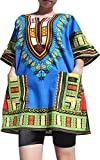 Raan Pah Muang RaanPahMuang Branded Dashiki Short Mini Dress Summer Long Cut Shirt Africa Colours, Large, Iris Blue
