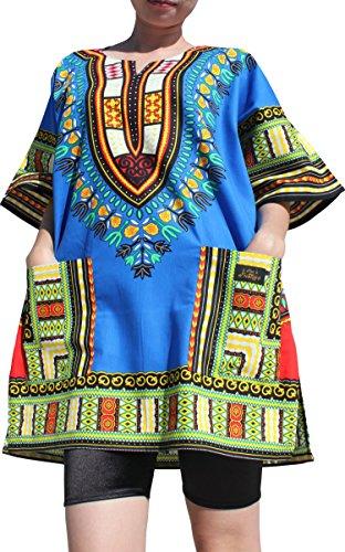 Raan Pah Muang RaanPahMuang Branded Dashiki Short Mini Dress Summer Long Cut Shirt Africa Colours, Large, Iris Blue by Raan Pah Muang