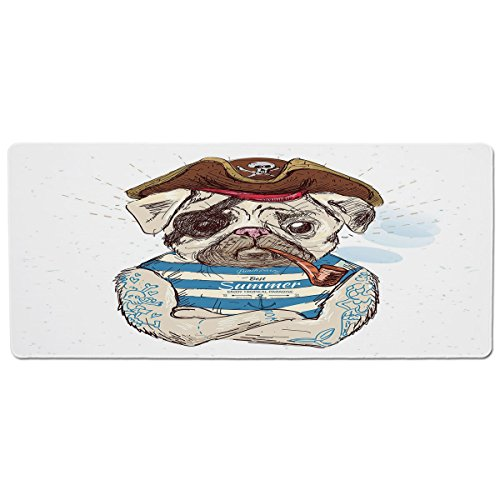 Mouse Pad Unique Custom Printed Mousepad [ Pug,Pirate Pug Conqueror of The Seas Pipe Skulls and Bones Hat Striped Sleeveless T Shirt Decorative,Brown Blue ] Stitched Edge Non Slip Rubber
