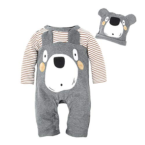BIG ELEPHANT Baby Boys' 1 Piece Cute Animal Long Sleeve Romper Jumpsuit With Hat,12-18 Months,Bear ()