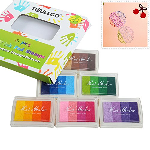 Set of 6 Washable DIY Stamp Ink Pads for Kids Craft Ink Pad 24 Colors