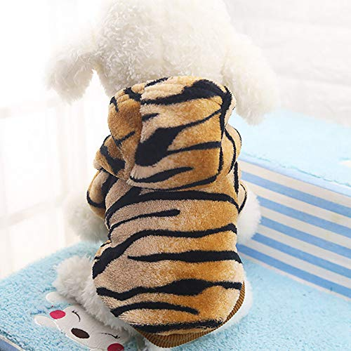 YunZyun Dog Clothes Flannel Dog Flannel Clothes Pet Winter Clothes Dog Cat Cute Tiger Transfiguration Coat,Warm and Soft (Coffee, S)