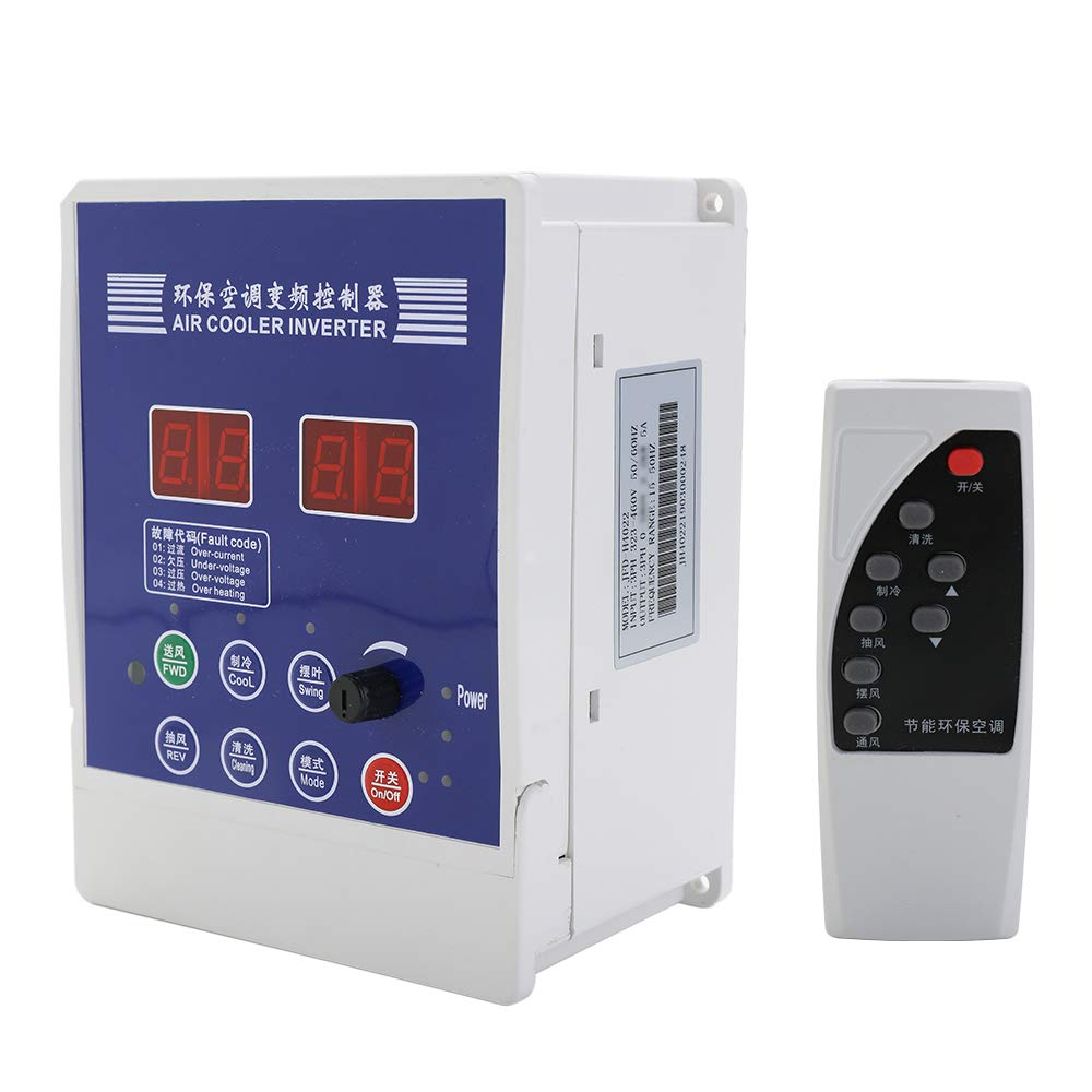 Baugger VFD Inverter VFD Drive, Air Cooler Inverter Adjustable Variable Frequency Drive AC220V Variable Motor Draught Fan Air Conditioner Speed Controller with Remote Control by Baugger