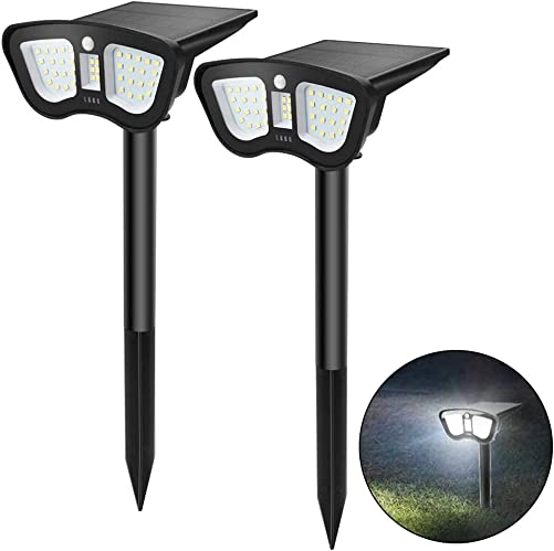 Alitamei Solar Landscape Spotlights 40 LED Wireless IP65 Waterproof Solar Powered Wall Lights Outdoor Landscape Light Motion Activate for Yard Garden Driveway Porch Walkway Pool Patio, White 2 Pack