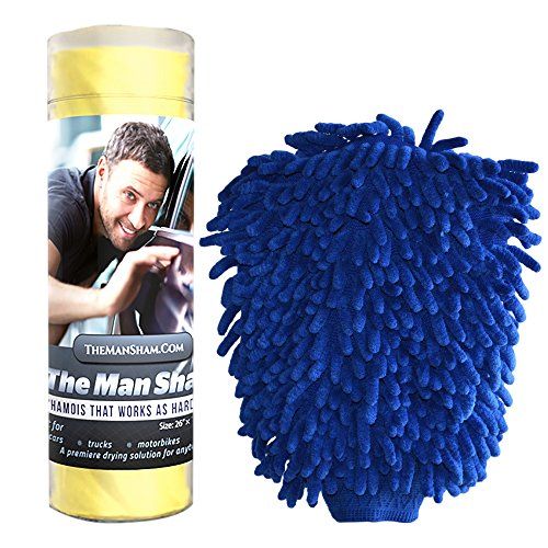 Man Sham Wash Mitt and Original Chamois Car Care Kit Great for Auto Detailing (Washing Kit For Car compare prices)