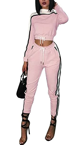 attractive price price remains stable temperament shoes Lutratocro Women Two Pieces Contrast Color Sweatsuit Cropped ...