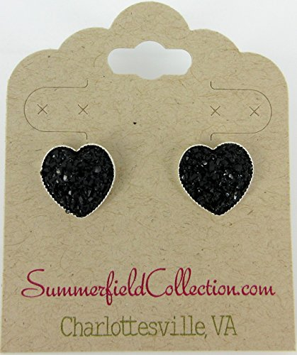 [Silver-tone Black Heart Faux Druzy Stone Stud Earrings 12mm] (Simple Cheer Dance Costumes)