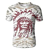 Edgar John Retrp Eagle Heart Chief Trail Grunge Effects Ethnic Geometric Motif Men's Short Sleeve Tshirt XL