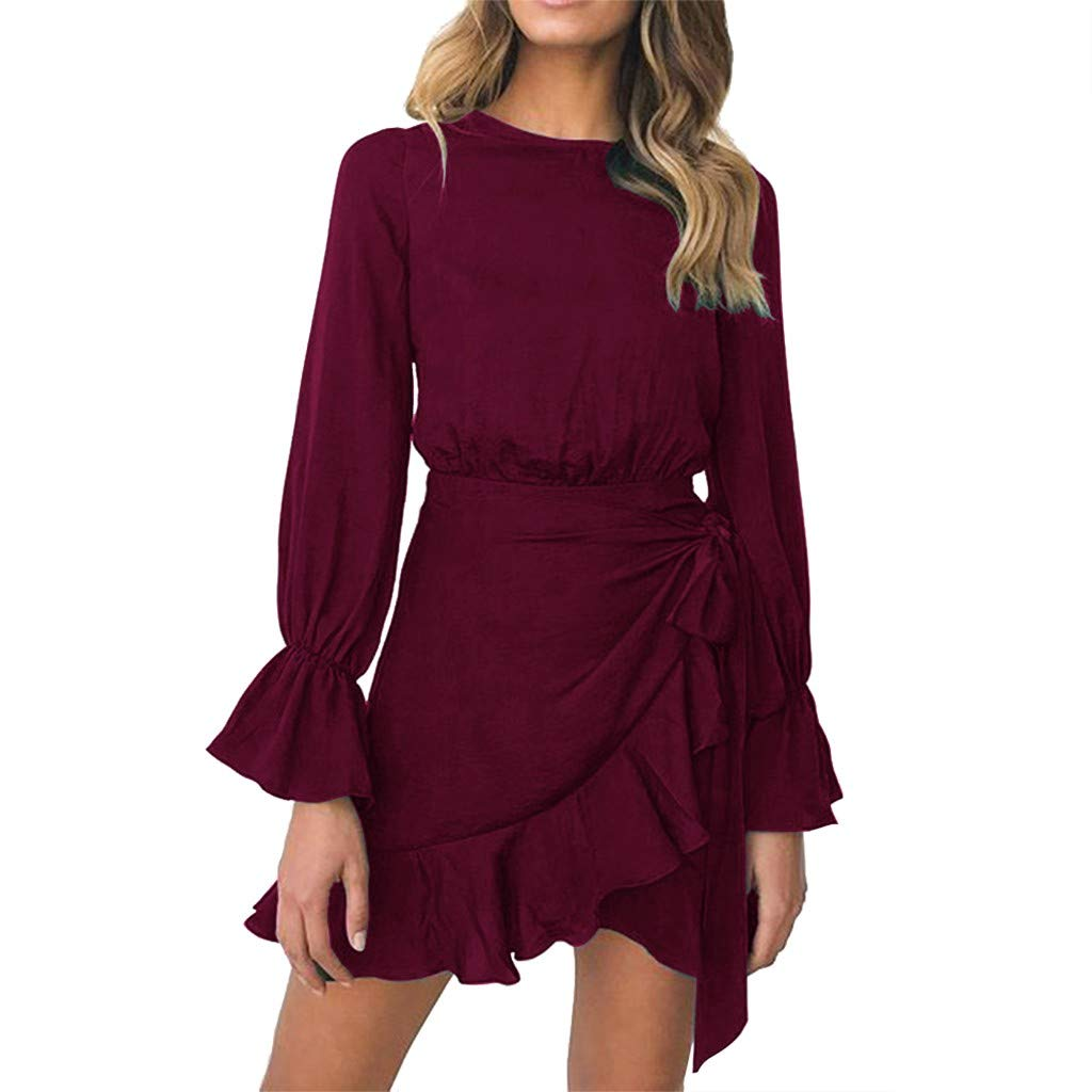 TRENDINAO Women Chiffon Dress Summer Ruffle Long Sleeve Solid Color Party Mini Dresses for Special Occasions Watermelon Red by TRENDINAO