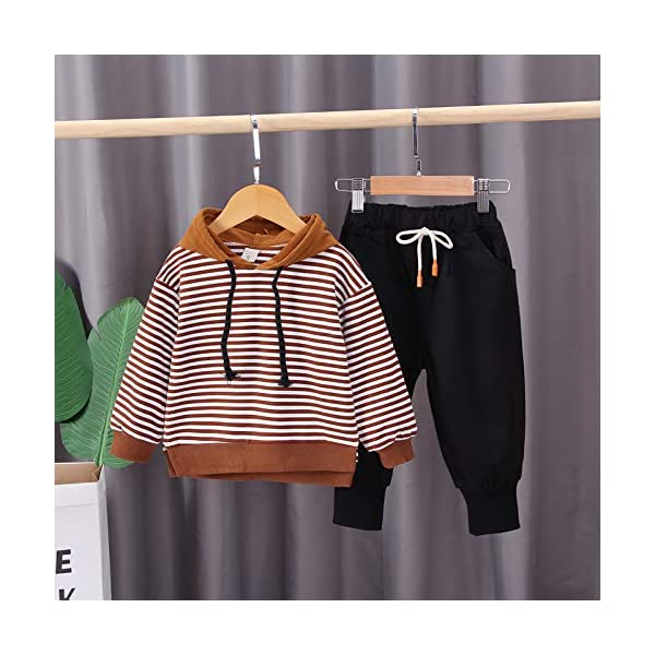 Nwada Abbigliamento Bambino Completi e Coordinati Tuta Sportivi Vestiti a Righe Set Camicia con Cappuccio e Pantaloni 2
