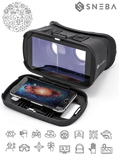 Sneba Virtual Reality Glasses – Safe 3D VR Headset for iPhone, Samsung, other Smartphones (3.5-6.0 Inch) – Real Video and Games System - Black