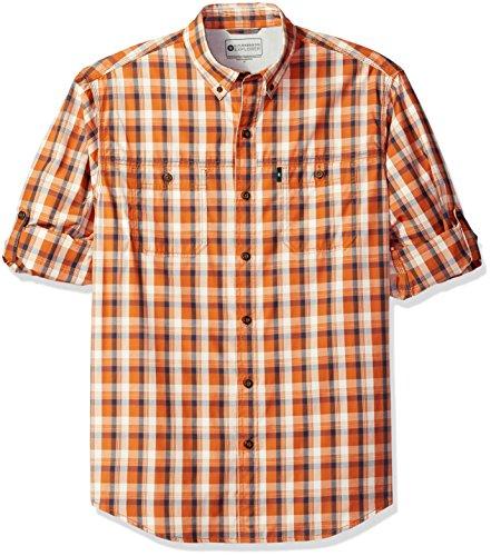 G.H. Bass & Co. Men's Explorer Sportsman Plaid Long Sleeve Shirt, Orange Umber, Medium