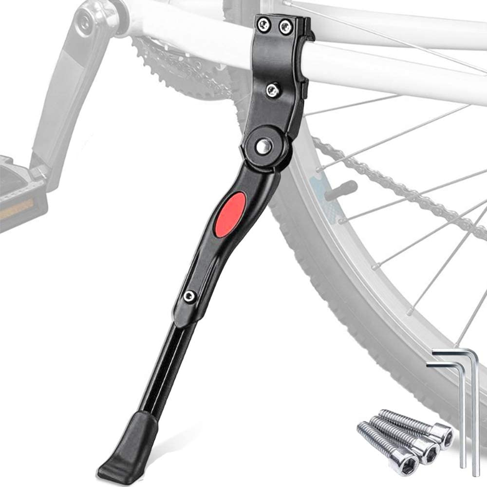 Road Bike Height Adjustable Bike Stand for Mountain Bike Tree2018 Bicycle Kickstand for 24-26 Bike Black Bicycle Aluminum Alloy Foot Support