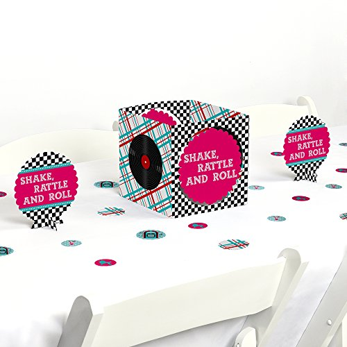 Big Dot of Happiness 50's Sock Hop - 1950s Rock N Roll Party Centerpiece & Table Decoration Kit -