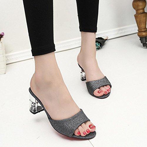 Elevin (tm) Mujeres Moda De Verano Bohemia Peeptoe Sandalias De Tacón Alto Mocasines Zapatos De Zapatilla Negro