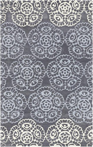 UPC 093422106108, 2' x 3' Blooming Dreams Baby Blue, Gray and Pale Yellow Hand Tufted Decorative Area Throw Rug
