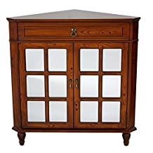 Heather Ann Creations W191119M-1871 The Vivian Collection Contemporary Style Wooden Double Door Floor Storage Living Room Corner Cabinet with Paned Glass Inserts and 1-Drawer, Cherry