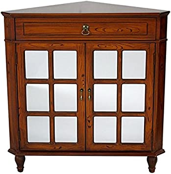 Heather Ann Creations The Vivian Collection Contemporary Style Wooden  Double Door Floor Storage Living Room Corner Cabinet with Paned Glass  Inserts ...