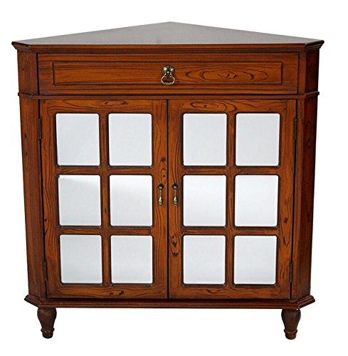 (Heather Ann Creations The Vivian Collection Contemporary Style Wooden Double Door Floor Storage Living Room Corner Cabinet with Paned Glass Inserts and 1-Drawer, Cherry)