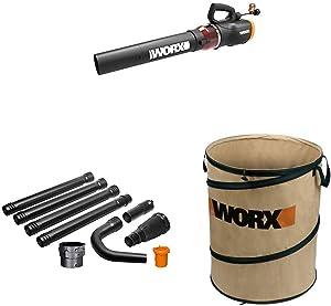 WORX WG520 Turbine 600 Electric Leaf Blower, Black with WA4094 GUTTERPRO Universal Gutter Cleaning Kit, 11' Reach WA0030 Landscaping 26-Gallon Collapsible Yard Waste Bag/Leaf Bin, Tan