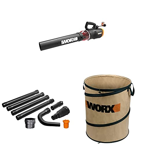 WORX WG520 Turbine 600 Electric Leaf Blower, Black with WA4094 GUTTERPRO Universal Gutter Cleaning Kit, 11 Reach WA0030 Landscaping 26-Gallon Collapsible Yard Waste Bag Leaf Bin, Tan