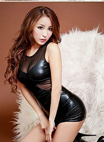 Sin Lencería Mujeres Desgaste XSQR Mangas Vestido Elástica Charol Ropa Interior Vestido De Clubwear Monos Club Mini q7d8w7