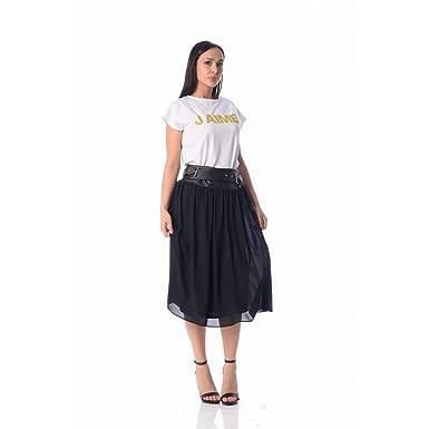 SALU - Falda negra de cintura alta con cinta de piel Jaimè: Amazon ...