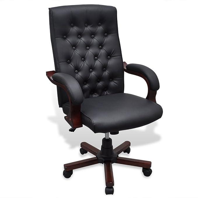 vidaXL Chesterfield Silla para Oficina de Cuero Artificial Negro sillón de despacho