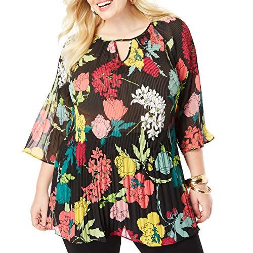 Roamans Women's Plus Size Pleated Keyhole Tunic Long Shirt Blouse