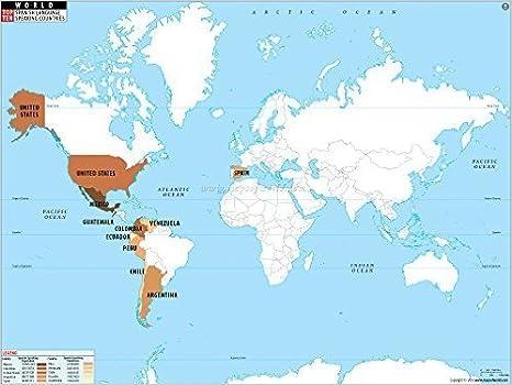 Los países de habla española en mapa del mundo (91 cm W x 27 cm H): Amazon.es: Oficina y papelería