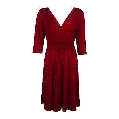 JSUMING Vestido de Maternidad Simple Color sólido Arrugas Cuello en V Profundo Vestido de Banquete de Moda Vestidos de Baby Shower para Mujeres Embarazadas,Red,XL: Hogar