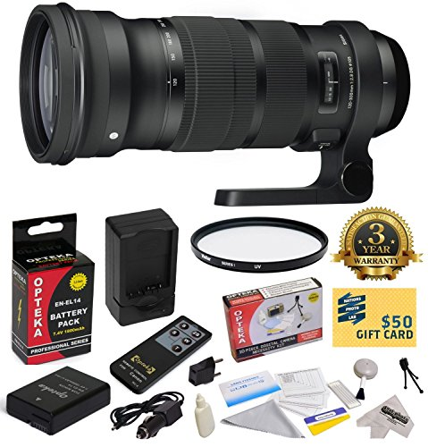 Sigma 120-300mm f/2.8 DG OS HSM Lens (137306) With 3 Year Extended Lens Warranty for the Nikon D3100 D3200 D3300 D5100 D5200 D5300 DSLR Camera Includes - Vivitar 105mm Multi-Coated UV Filter + Replacement Battery Pack for the Nikon EN-EL14 1800MAH + 1 Hou by Nikon
