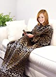 """Napa Fleece Blanket with Front Pockets for Adult, 53"""" x 71"""", Cheetah"""