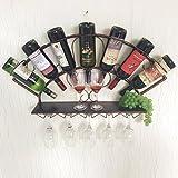 WAN SAN QIAN- Creative Home Living Room Bar Wall-mounted Wine Cooler Wine Glass Rack 83x13x40cm Wine rack ( Color : Bronze )