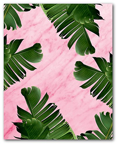 Banana Leaves On Pink Marble Print, Tropical Palm Leaf, 8 x 10 Inches, Unframed