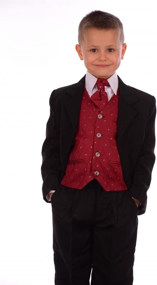 Joven 5 piezas traje, color negro y vino rojo Schwarz - Black and ...
