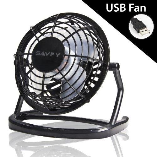 SAVFY 4'' Quiet USB Mini Desktop Plastic Fan Cooler with ON/OFF Switch - Black