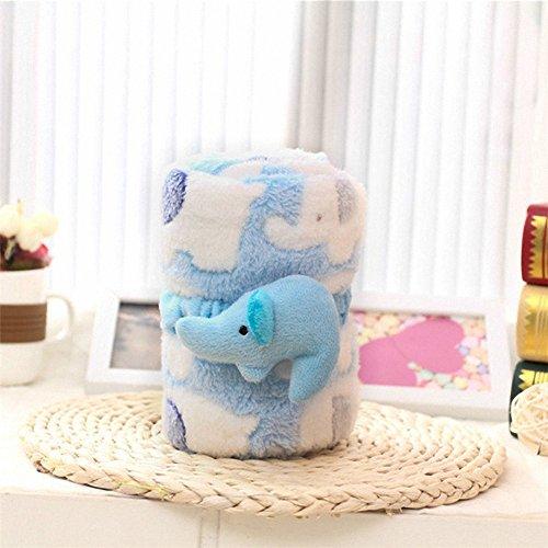 Super Soft Fleece Multi Purpose Cute Mosaic Elephant Theme Baby Blanket with Hair Band,Nursing,Cuddle,Comforter,Playmat,Bath Towel Baby Shower,Gift,Travel, Nap time.