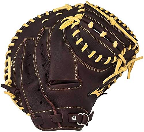 手袋 日常 実用 スティックとソフトボールグローブキャッチャー野球グローブの右投げ(左手着用)33.5インチ (Color : Brown)