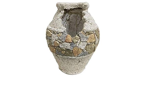 Macetero de jardín imitación piedra con forma de Vasija, Figuras Resina I Modelo: 0211876 I Macetero Exterior e Interior I Macetero para escritorio, estantería, mesa de comedor I Macetero decorativos: Amazon.es: Jardín