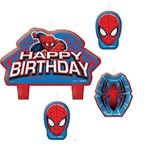 Juego de 4 velas Spiderman Marvel - Decoración Gateau ...