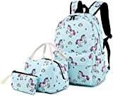 School Backpack Girls Bookbag Cute Schoolbag fit 15 inch Laptop insulated Lunch Bag Daypack for Teens Boys Kids(Blue Unicorn)