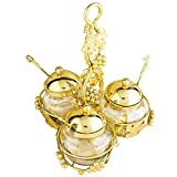 Glass Condiment Pots with Lids and Spoons Set of 3, FANGZHIDI Spice Jars Jam Mustard Pots Seasoning Container Salt Sugar Small Bowl with Golden Metal Holder Handle