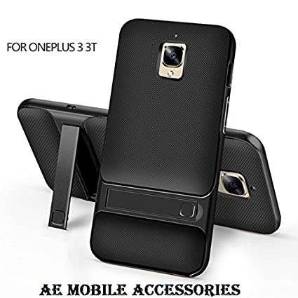 promo code c5353 64235 AE Mobile Accessories Shock Proof Rugged Rock Royce Dual Layer Armor PC  Frame,Silicone Kickstand Protector Back Cover for One Plus 3, Black