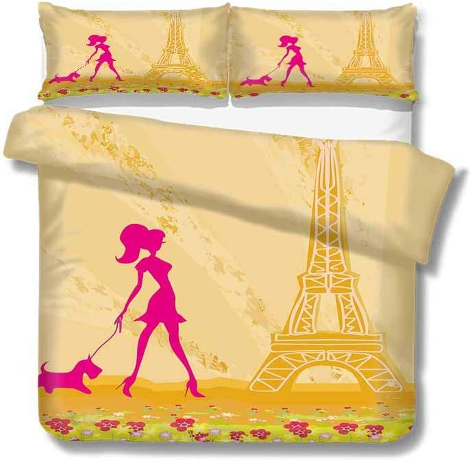 Flyerer Queen Duvet Cover Pink Silhouette of A Girl with The Dog Eiffel Tower in Paris Design 100% Cotton Bedding, 1 Quilt Cover and 2 Pillowcases, Zip Closure 89x89 inch