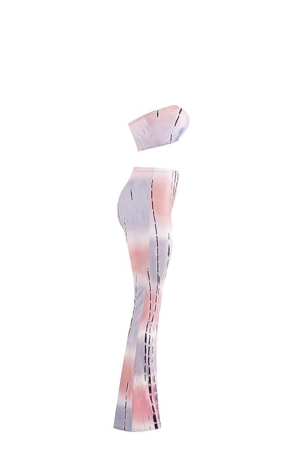 MostaShow Tie-dye Printed Bandage Female Pants Gradient Bell-Bottom Wide Leg Pants Evening Party Bandage Pants Trousers