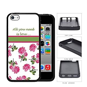 All You Need Is Love Quote With Pink Roses Hard Silicone PC Cell Phone Case Case For HTC One M8 Cover