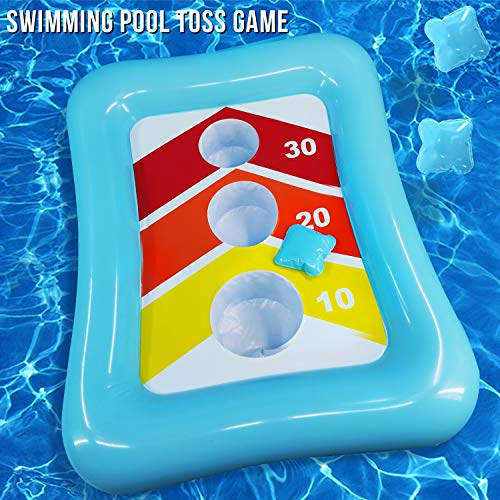 iGeeKid 36″ Swimming Pool Ring Toss Games Inflatable Pool Toys Floating Toss Game for Kids Adults Floating Cornhole Board Set Swimming Toys Summer Pool Party Water Carnival Outdoor Beach Toy