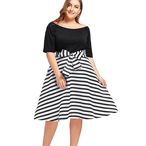 Stripe Casual Dress - GAMISS Women's Stripe Plus Size Dress With 1/2 Long Sleeve Knee Length Casual Dress Black 3XL