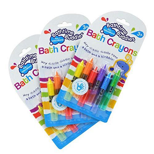 Stickers - 6pcs Baby Toddler Bathing Bath Crayons Bathtime Drawing Writing Fun Play Educational Gift - Crayon Pencil Devil Pastel Cream Newborn Kids Foamer Mascot Depil Body Ducks Infant Hair Su